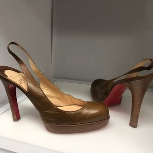 Vintage Christian Louboutin Brown Leather Heels